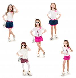 image of little girls photo-models  - Collection of photos adorable happy little girl in sunglasses posing isolated on a white - JPG