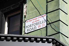 foto of kensington  - Portobello Road sign in the street market at Notting Hill - JPG