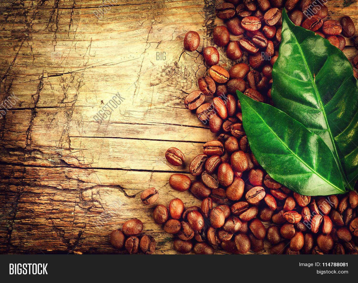 Coffee Beans Over Wood Background Image amp Photo Bigstock