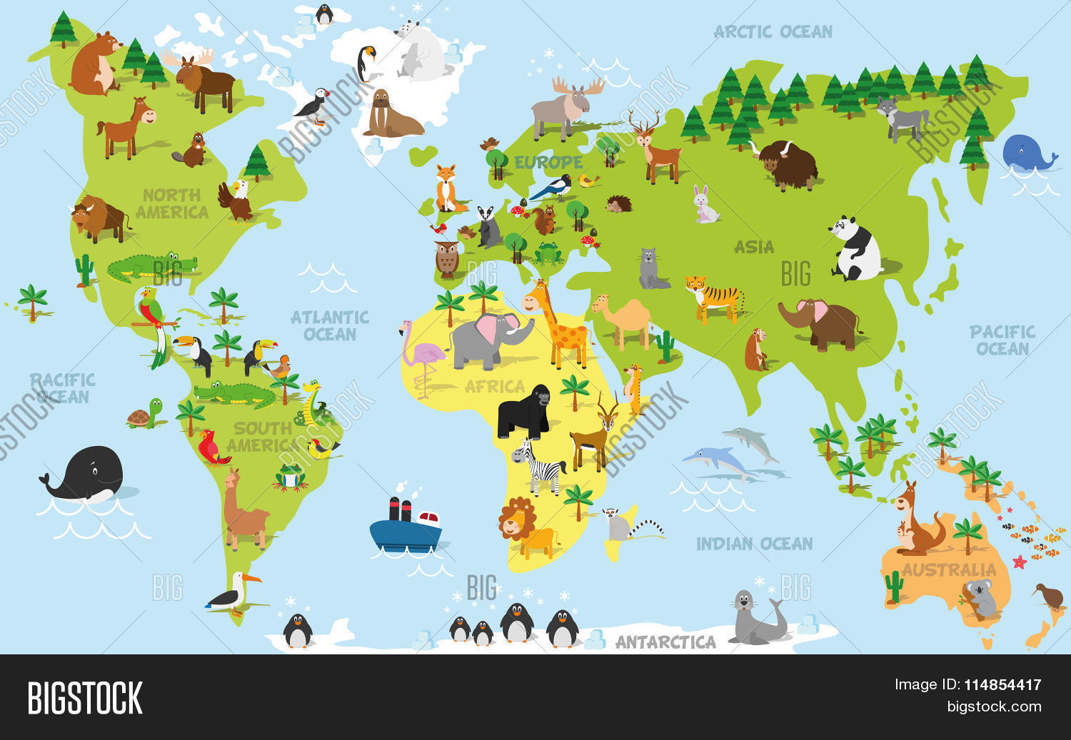 Funny cartoon world map vector photo bigstock funny cartoon world map with traditional animals of all the continents and oceans gumiabroncs Choice Image