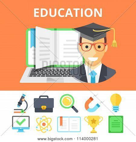 Education flat illustration and colorful flat education icons set
