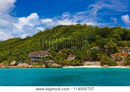 Hotel on tropical beach - La Digue Seychelles - vacation background