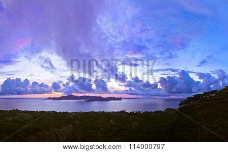 Island Praslin Seychelles at sunset - nature background