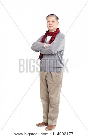 old standing Asian man in grey jumper and scarf