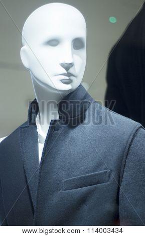 Store Clothes Dummy In Suit Shop