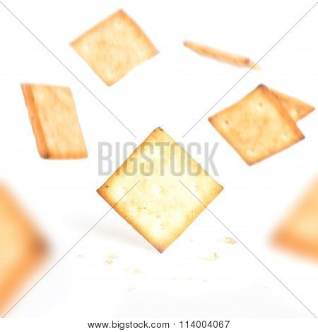Cookie crackers falling from top