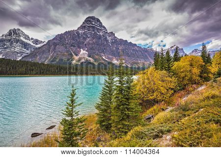 Azure waters of the river are surrounded with Rocky Mountains and magnificent yellow and orange vegetation. Autumn Bow River in Banff National Park, Canada