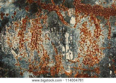 Background Texture Of Rusted Steel. Abstract Large Rust Surface