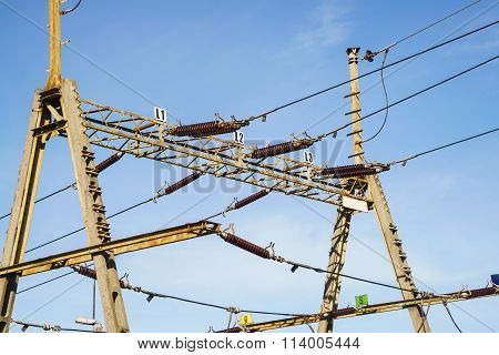 Overhead Line Wire Over Rail Track. Power Lines.