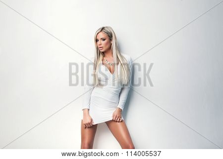Portrait Of  Sexy Beauty Woman In White Dress