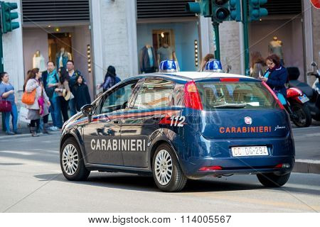 Rome - MARCH 21, 2014: Police Car on March 21 in Rome, Italy. Po