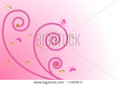 Floral background elements with hearts