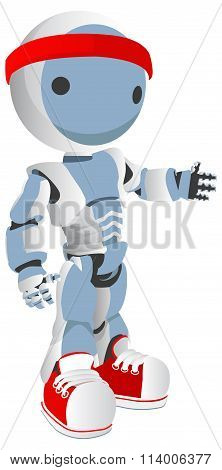 Blue Robot Runner With Red Shoes And Headband