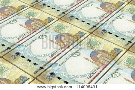 Bahraini dinar bills stacks background. Computer generated 3D photo rendering.