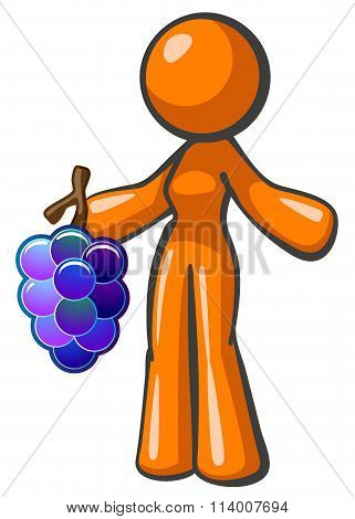 Orange Lady Holding Large Bunch Of Grapes