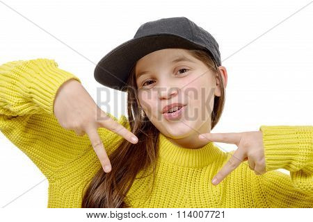 Street Style Hipster Girl With Hat And Yellow Pullover On White Background.