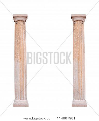 Two Architectural Columns On A White Background