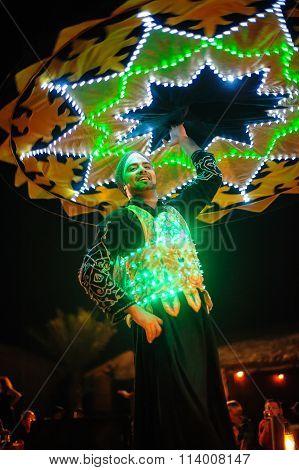 Dubai, Uae, December 10, 2013, A Man With A Skirt Dances National Dance