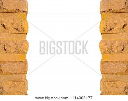 Stone Frame On White Background