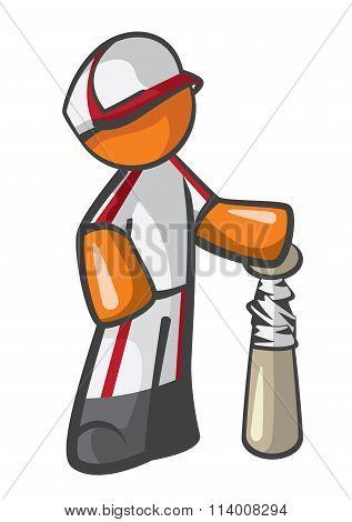 Orange Man Baseball Player