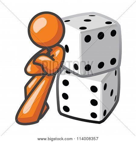 Orange Man Leaning Against Dice