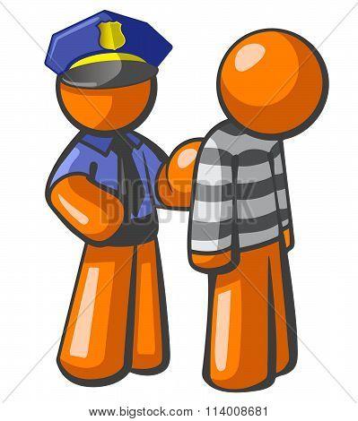 Orange Man Police Catching Robber