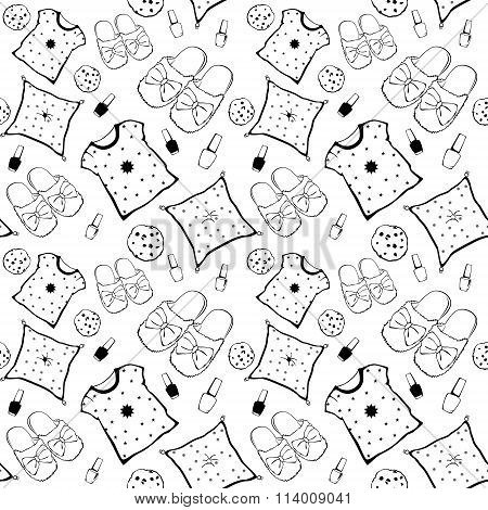 Vector Black White Pajama Movie Night Party Necessities Seamless Pattern. Pillow Nail Polish Cookie