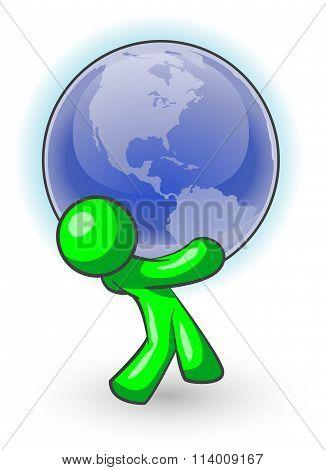 Green Man Carrying Globe