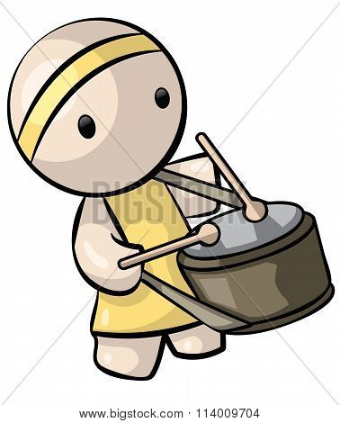 Chinese Drummer In Yellow Attire