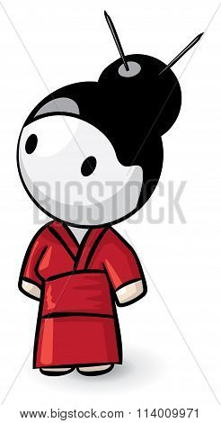 Little Geisha With Red Kimono