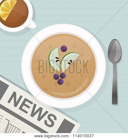 Breakfast flat top view set icons silhouette illustrations