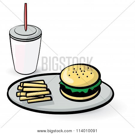 Hamburger Fries And Milk Shake