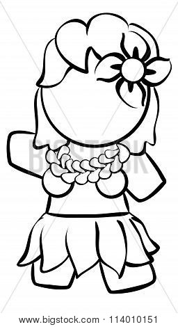 Line Drawing Of Hula Dancer