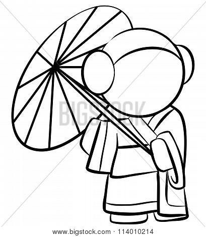 Line Drawing Of Cute Geisha