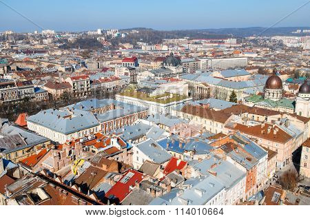 Lviv, Ukraine, March 23, 2010: The Historic Center Of The City Of Lviv, Top View