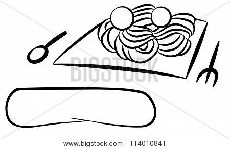 Line Drawing Of Italian Food