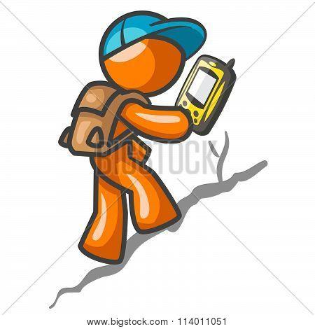 Orange Man Hiking With Gps