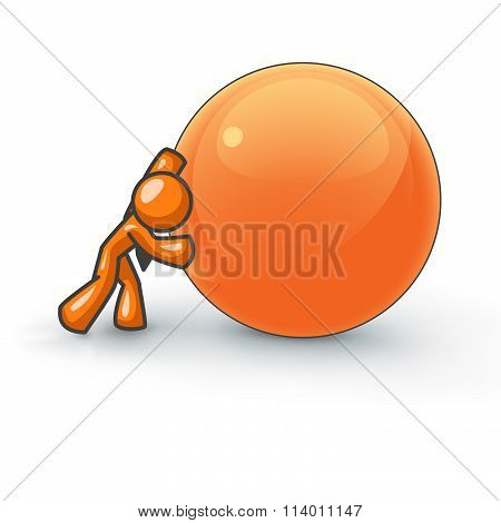 Orange Man Rolling A Large Ball