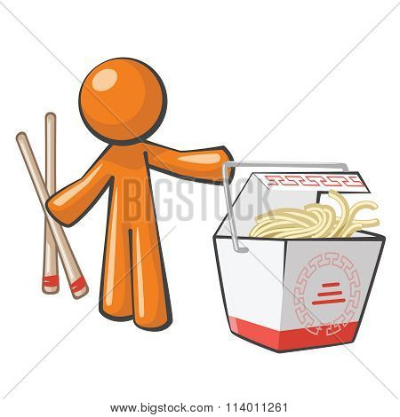 Orange Man With Chinese Food Takeout And Chopsticks