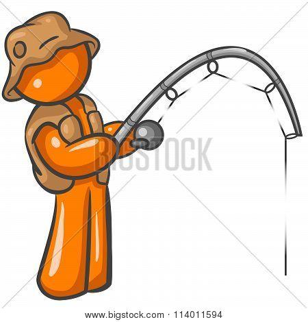 Orange Man Fishing