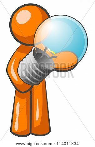 Orange Man Holding Light Bulb