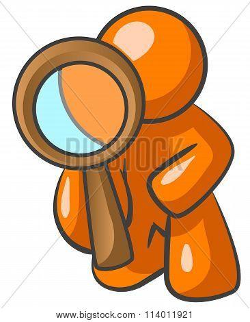 Orange Man Looking Through Magnifying Glass
