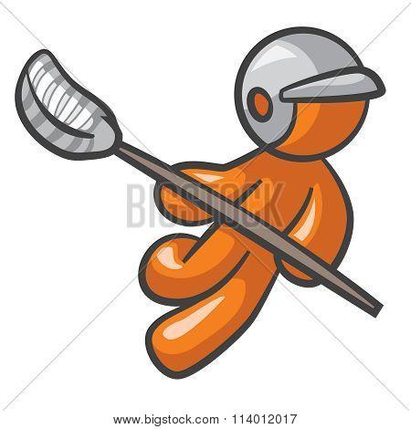 Orange Man Lacross Player