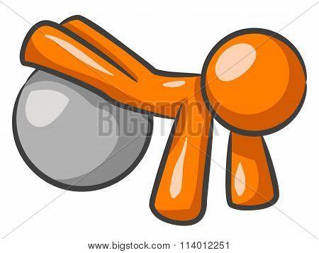 Orange Man Ball Work Out