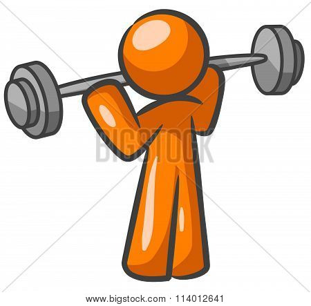 Orange Man Weight Lifter