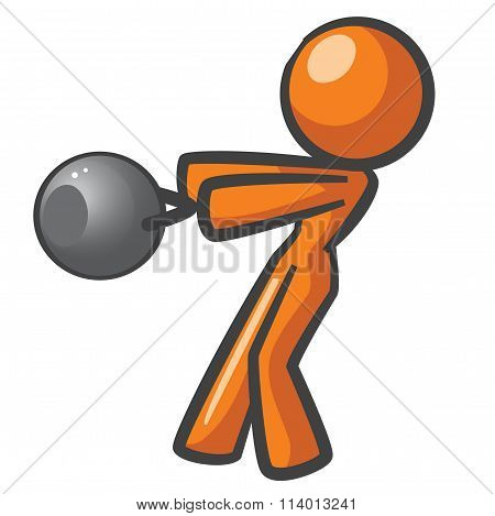 Orange Woman Working Out With Russian Kettle Bells.