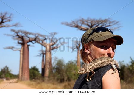 Girl and chameleon