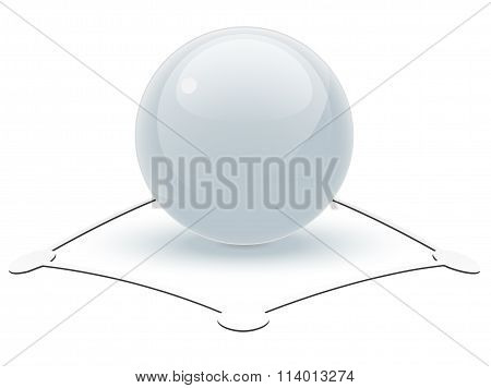 Pearl White Sphere On Abstract Object