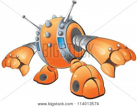 Orange Robot Reaching Down