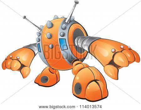 Orange Robot Reaching Down